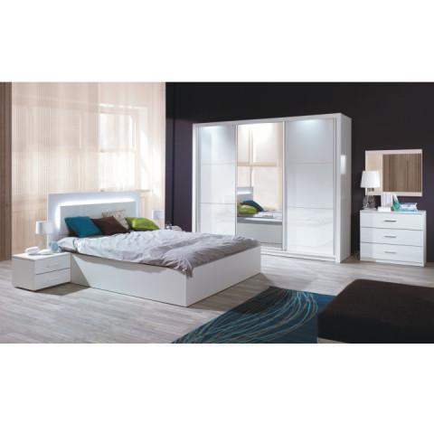 Ložnicový komplet ASIENA (skříň+postel 160x200+2 x noční stolek) - bílá / vysoký bílý lesk HG