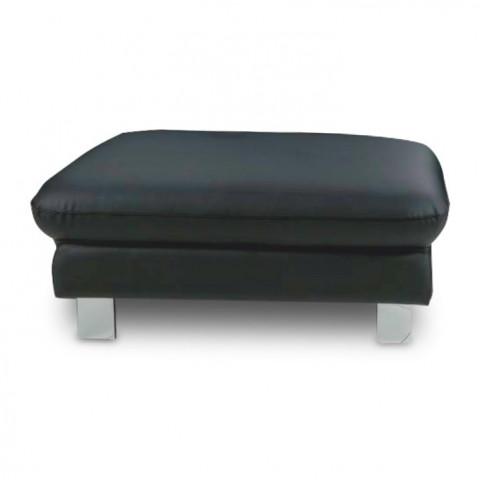Kožený taburet RIVER, na objednávku - černá kůže