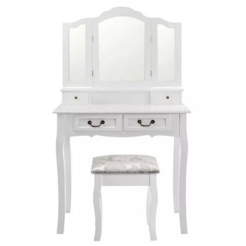 Toaletní stolek s taburetem REGINA - bílá / stříbrná