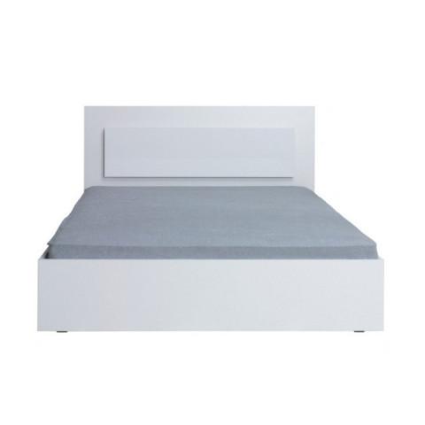 Manželská postel ASIENA,160x200 - bílá / vysoký bílý lesk HG
