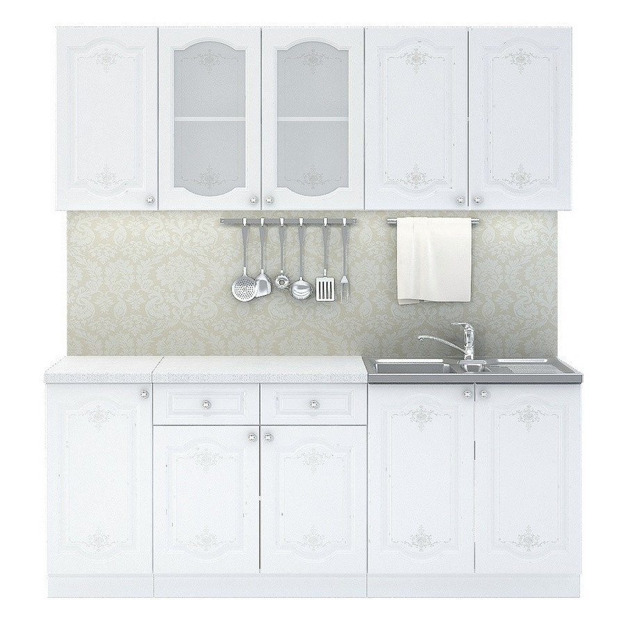 Casarredo Kuchyně CHARLIZE 200 - bílá se vzorem