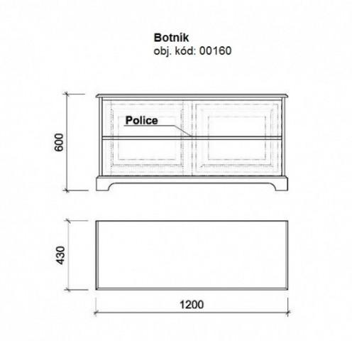 Dřevěný botník 00160