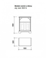 Dřevěný noční stolek s nikou 00214