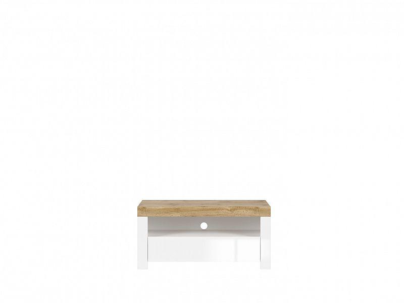 BRW Televizní stolek Holten RTV1S - dub wotan/bílý lesk