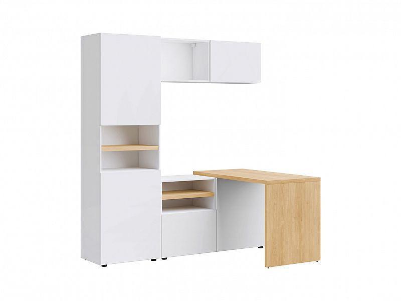 Psací stůl XL Modai - bílá Canadian/dub polský