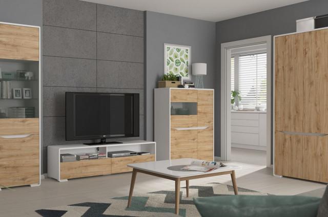 Televizní stolek Haren RTV2S - bílá alpská/dub minerva č.5