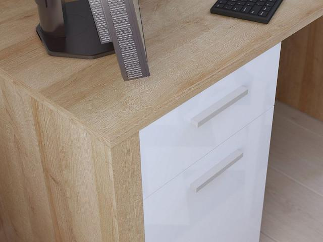 Psací stůl Balder BIU 120 - Dub riviéra/bílý lesk č.4