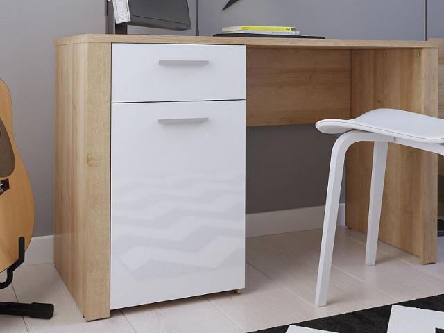 Psací stůl Balder BIU 120 - Dub riviéra/bílý lesk č.5