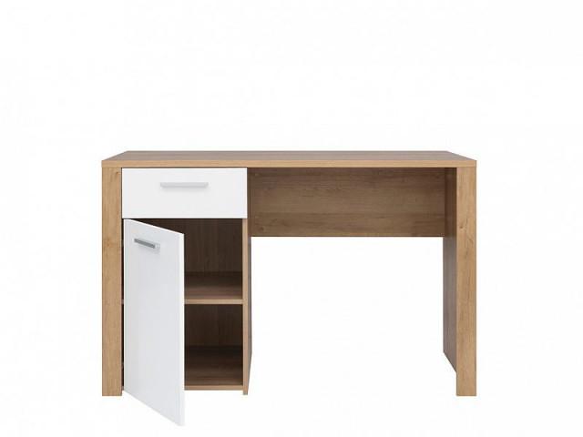 Psací stůl Balder BIU 120 - Dub riviéra/bílý lesk č.2