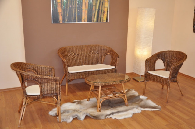 Ratanová sedací souprava Fabion velká, brown wash