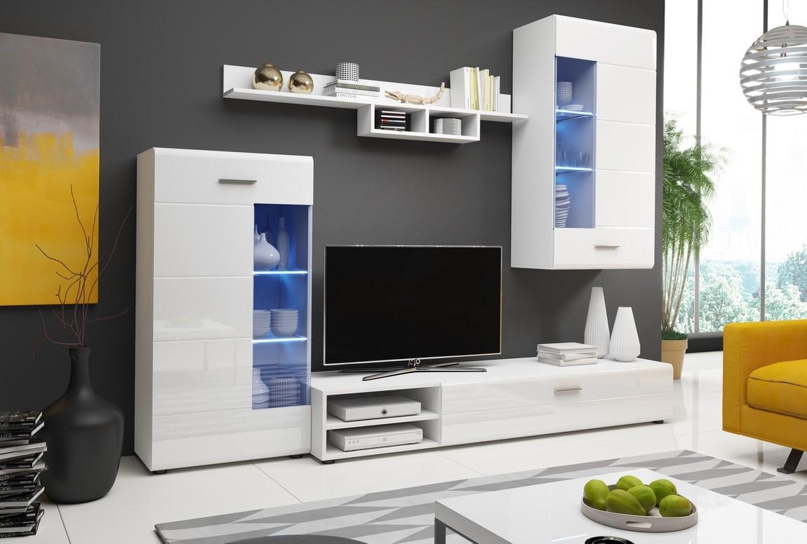 Casarredo Obývací stěna STORM II bílá lesk