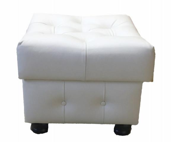 Taburet CHESTERFIELD s úl. prostorem kůže bílá
