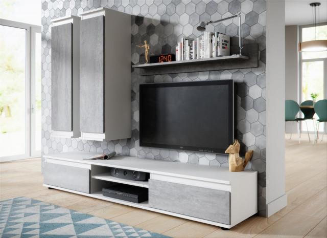 Obývací stěna Cher bílá/beton
