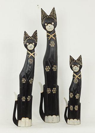 Dekorace kočka 3 kusy TAKSU-32