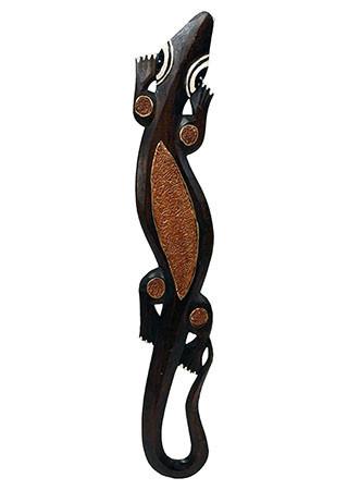 Dřevěná dekorace ještěrka IND069