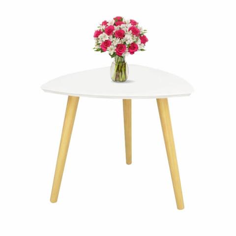 Příruční stolek TAVAS - bílá/přírodní dřevo