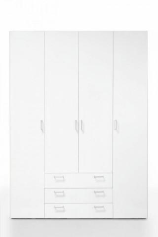Skříň Sid 4D3S bílá/bílá
