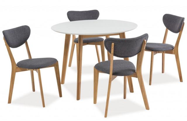 Jídelní stůl kulatý MOSSO II dub/bílá