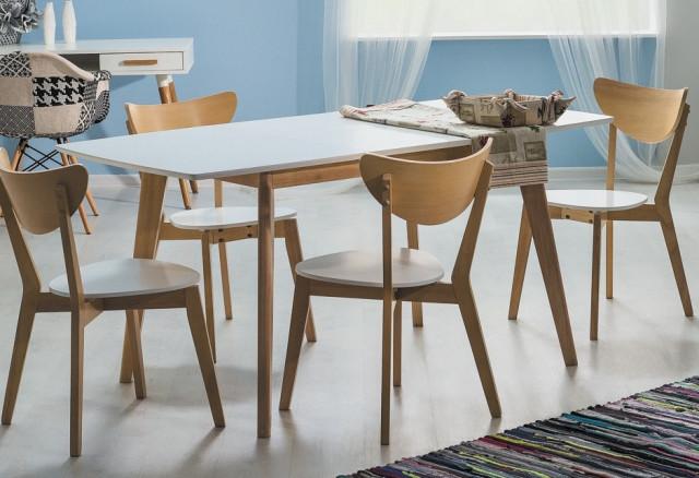 Jídelní stůl rozkládací COMBO II bílá/dub