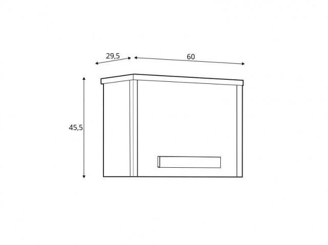 Závěsná skříň Namek SFW1D - buk iconic/bílý lesk/šedá č.6