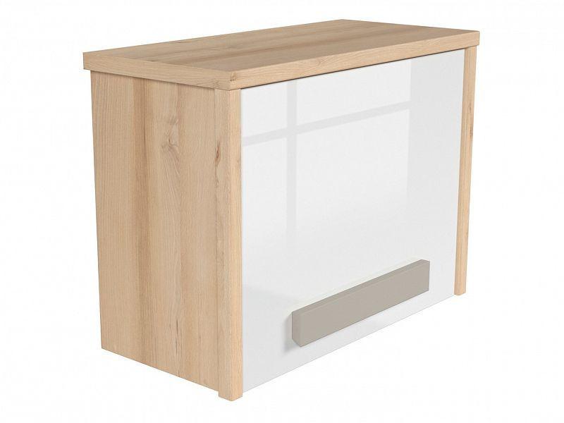 Závěsná skříň Namek SFW1D - buk iconic/bílý lesk/šedá