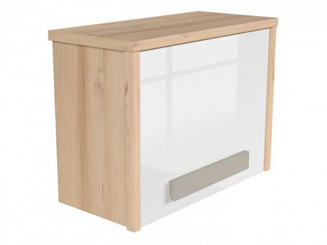 Závěsná skříň Namek SFW1D - buk iconic/bílý lesk/šedá č.2