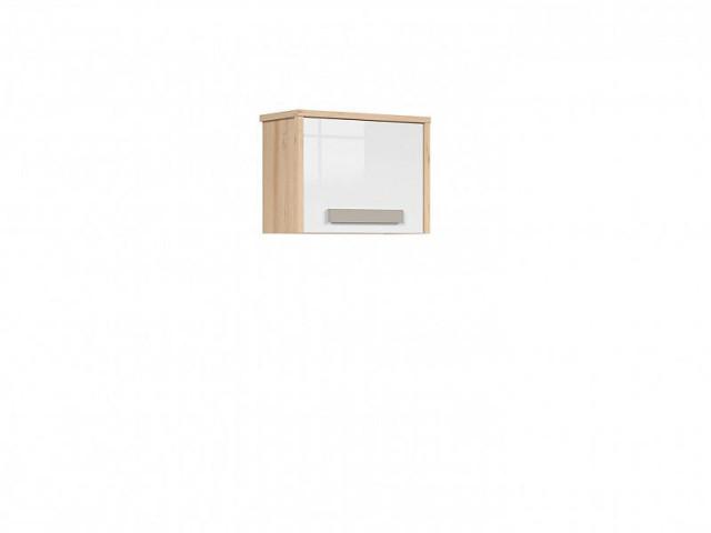 Závěsná skříň Namek SFW1D - buk iconic/bílý lesk/šedá č.4
