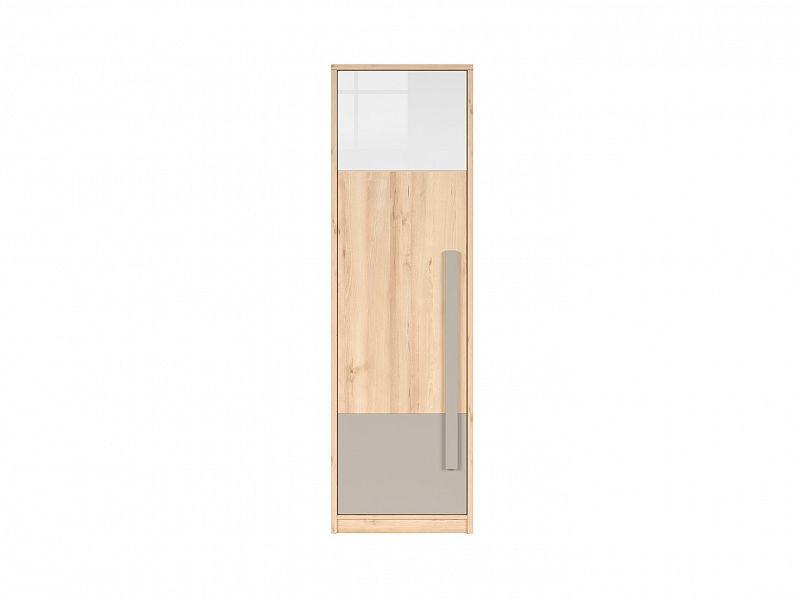 Šatní skříň Namek SZF1D - buk iconic/bílý lesk/šedá