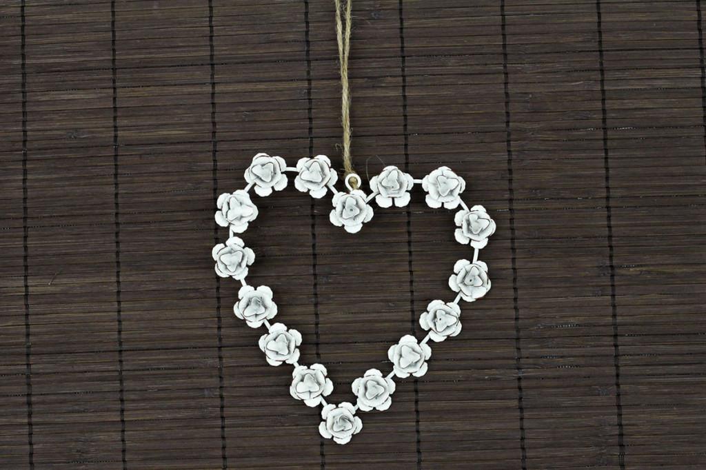 Kovové srdce s růžemi ZA8660