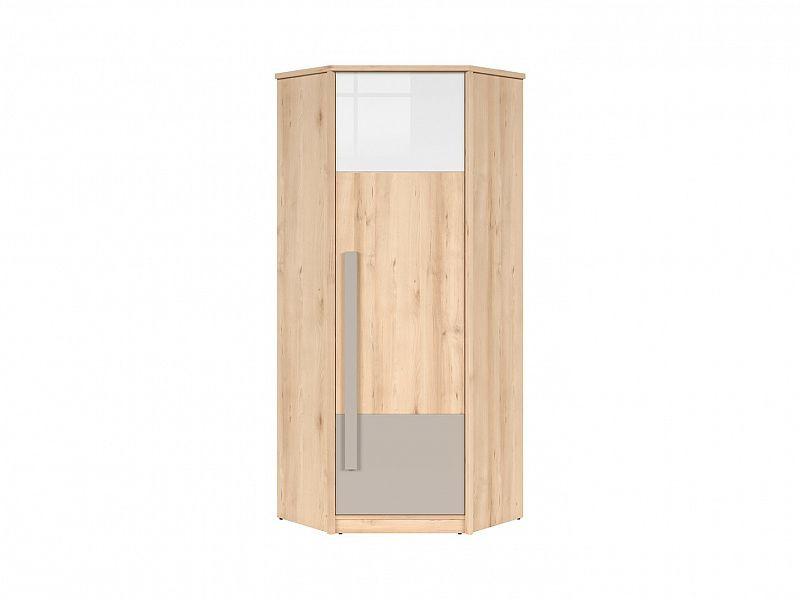 Rohová šatní skříň Namek SZFN1D - buk iconic/bílý lesk/šedá