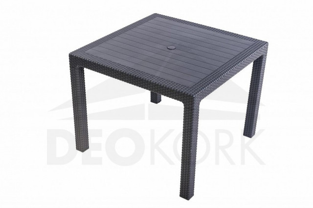 Zahradní stůl z umělého ratanu MANHATTAN 95x95 cm (antracit)