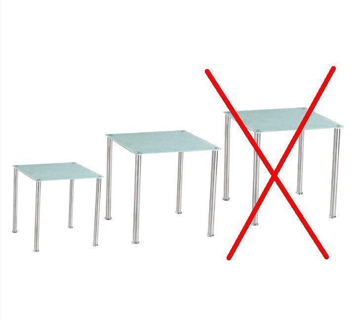 Sada 2 příručních stolků NESTOR - tvrzené sklo / ocel