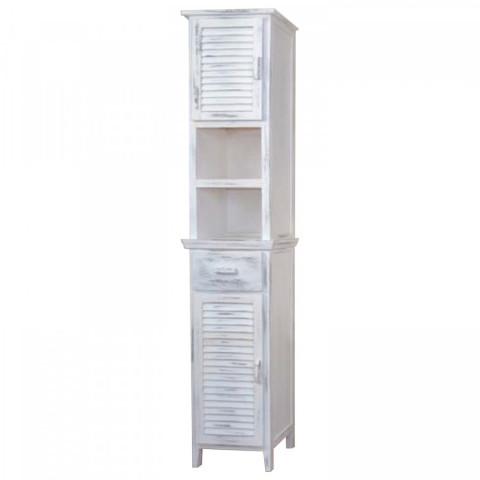 Vysoká skříňka 2 dveře + 1 zásuvka bílá antik