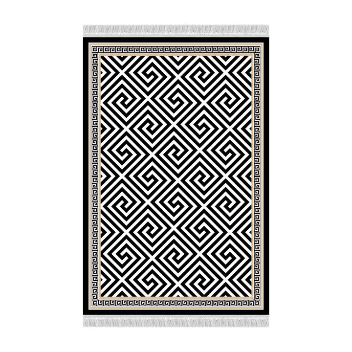Tempo Kondela Koberec MOTIVE, 160x230 - černo-bílý vzor + kupón KONDELA10 na okamžitou slevu 3% (kupón uplatníte v košíku)