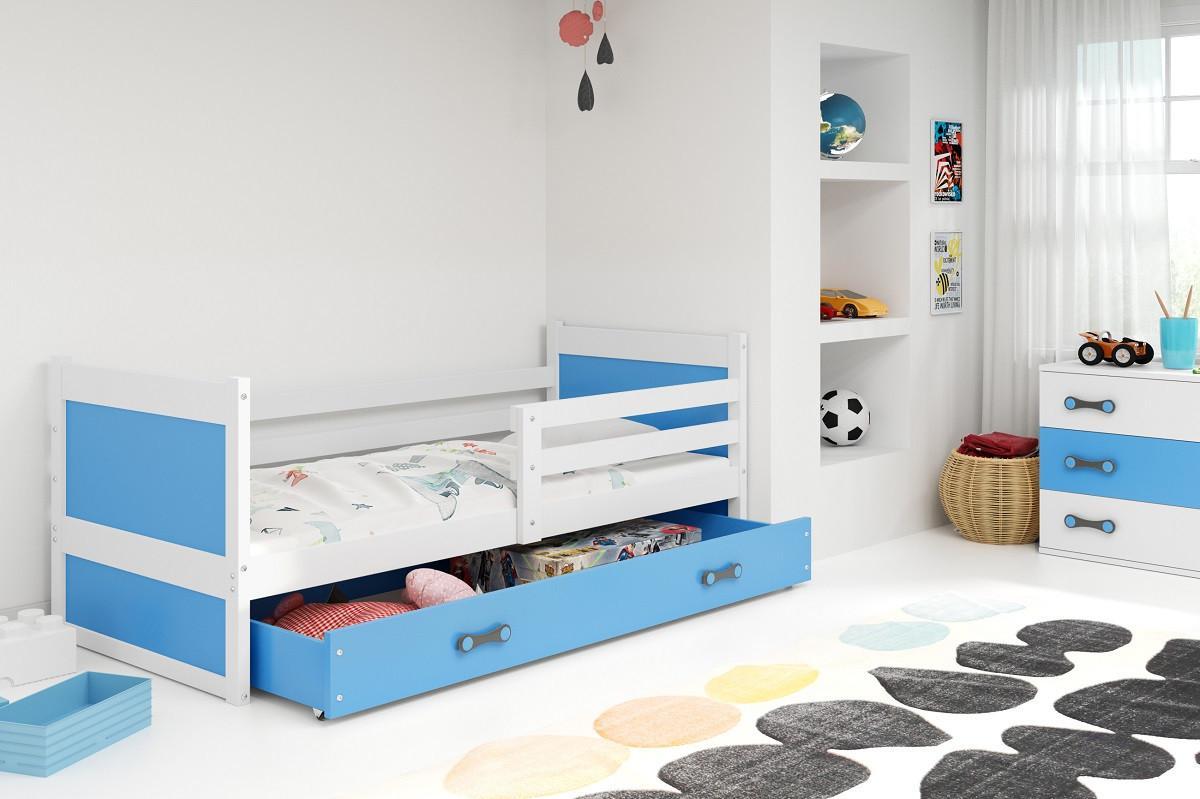 Falco Dětská postel Riky 90x200 - bílá/modrá