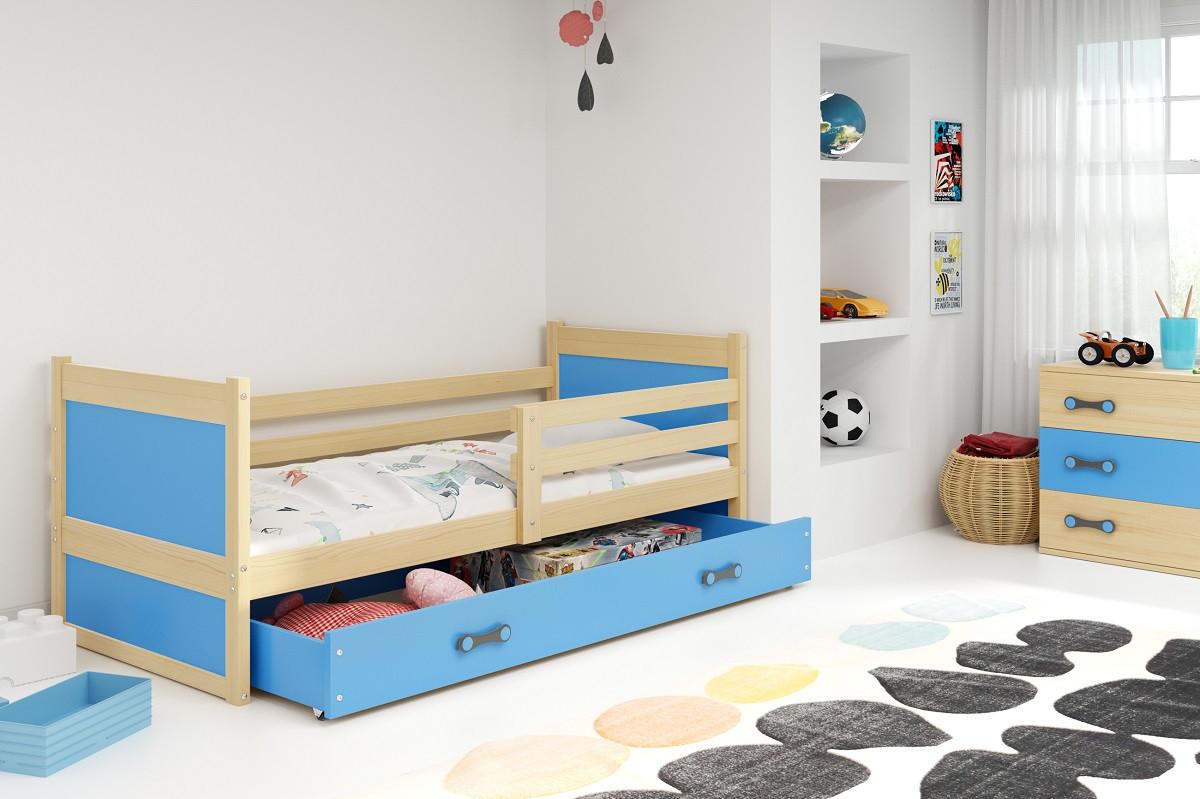 Falco Dětská postel Riky 90x200 - borovice/modrá