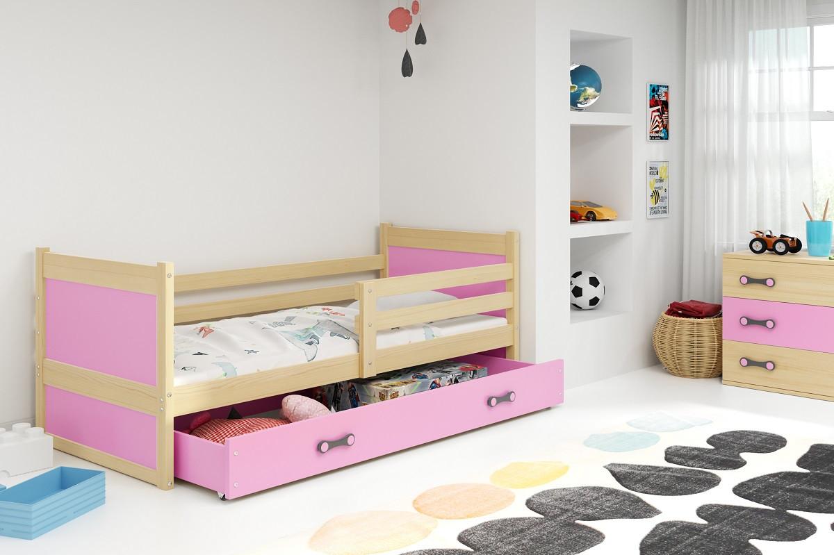 Falco Dětská postel Riky 90x200 - borovice/růžová