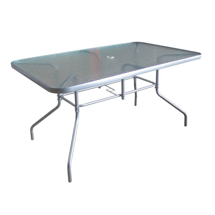 Tempo Kondela Jídelní stůl Demat NEW - tvrzené sklo / stříbrná + kupón KONDELA10 na okamžitou slevu 3% (kupón uplatníte v košíku)