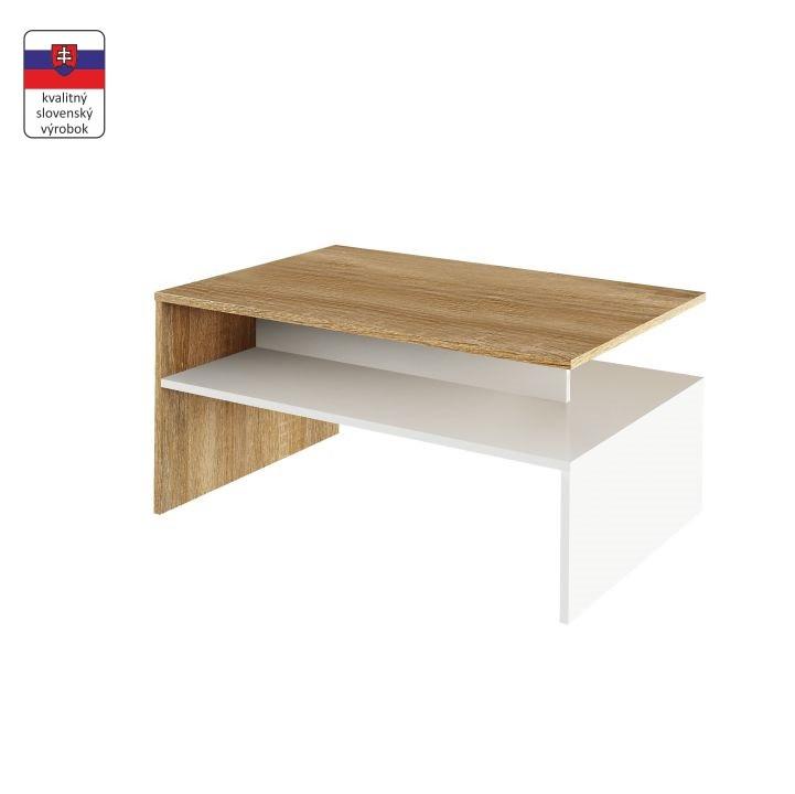 Tempo Kondela Konferenční stolek DAMOLI - dub sonoma / bílý + kupón KONDELA10 na okamžitou slevu 3% (kupón uplatníte v košíku)