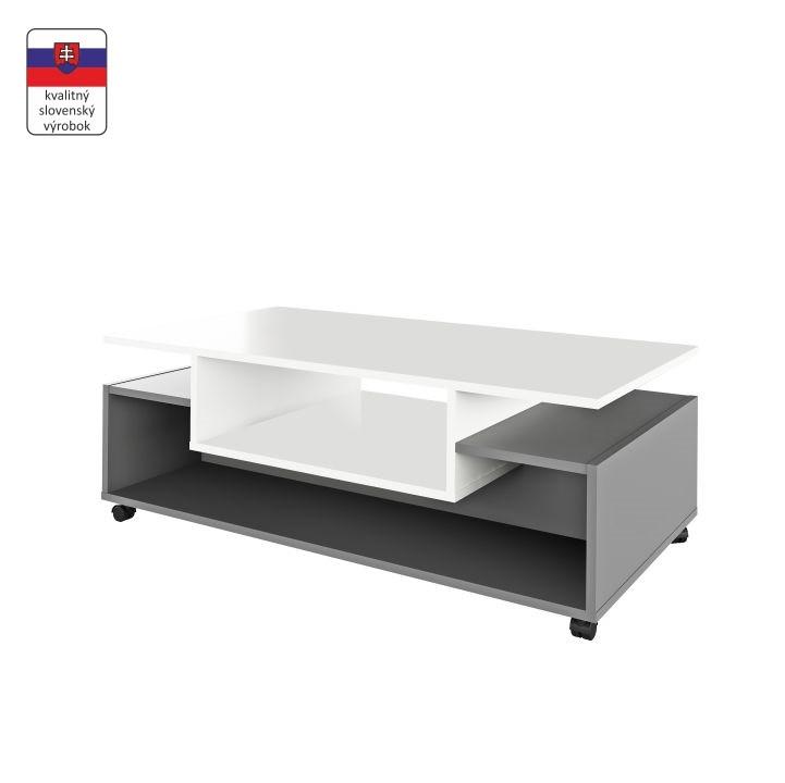 Tempo Kondela Konferenční stolek na kolečkách DALEN - bílá / grafit + kupón KONDELA10 na okamžitou slevu 3% (kupón uplatníte v košíku)