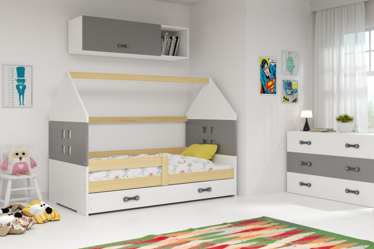 Falco Dětská postel Dominik 80x160 borovice/grafit/bílá