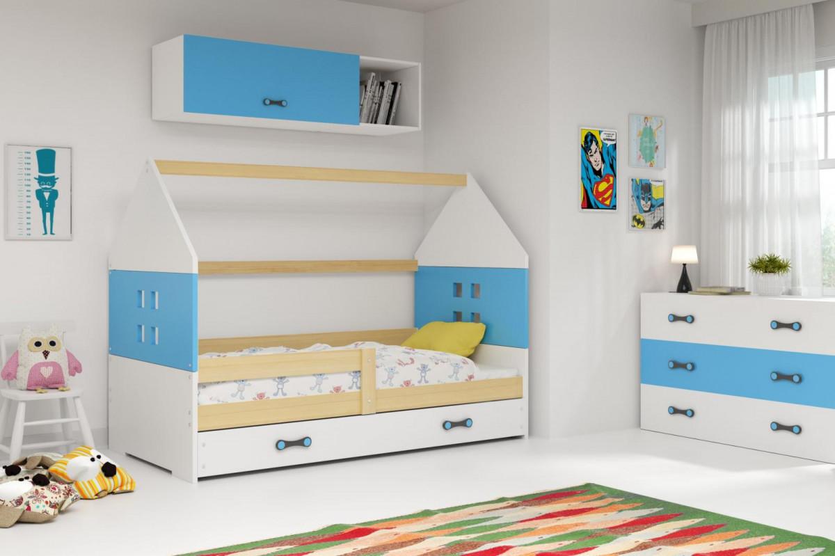 Falco Dětská postel Dominik 80x160 borovice/modrá/bílá