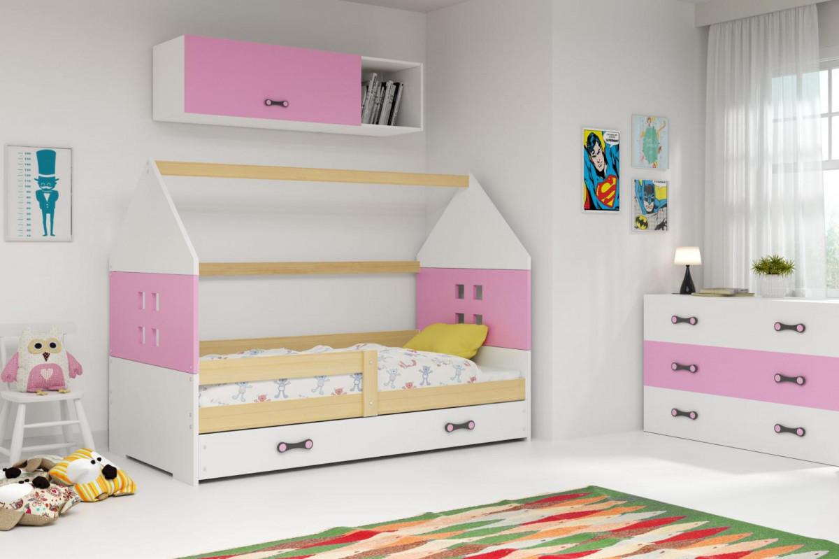 Falco Dětská postel Dominik 80x160 borovice/růžová/bílá