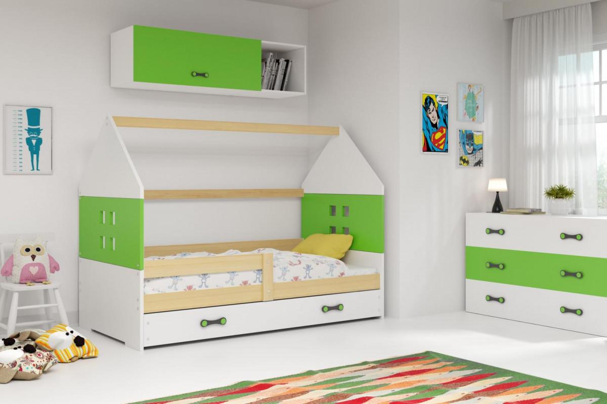 Falco Dětská postel Dominik 80x160 borovice/zelená/bílá
