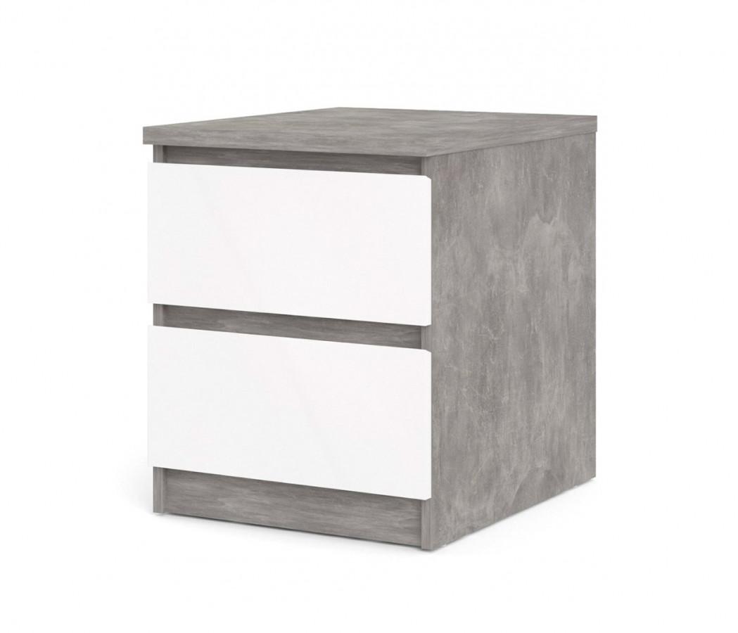 Falco Noční stolek Simplicity 230 beton/bílý lesk