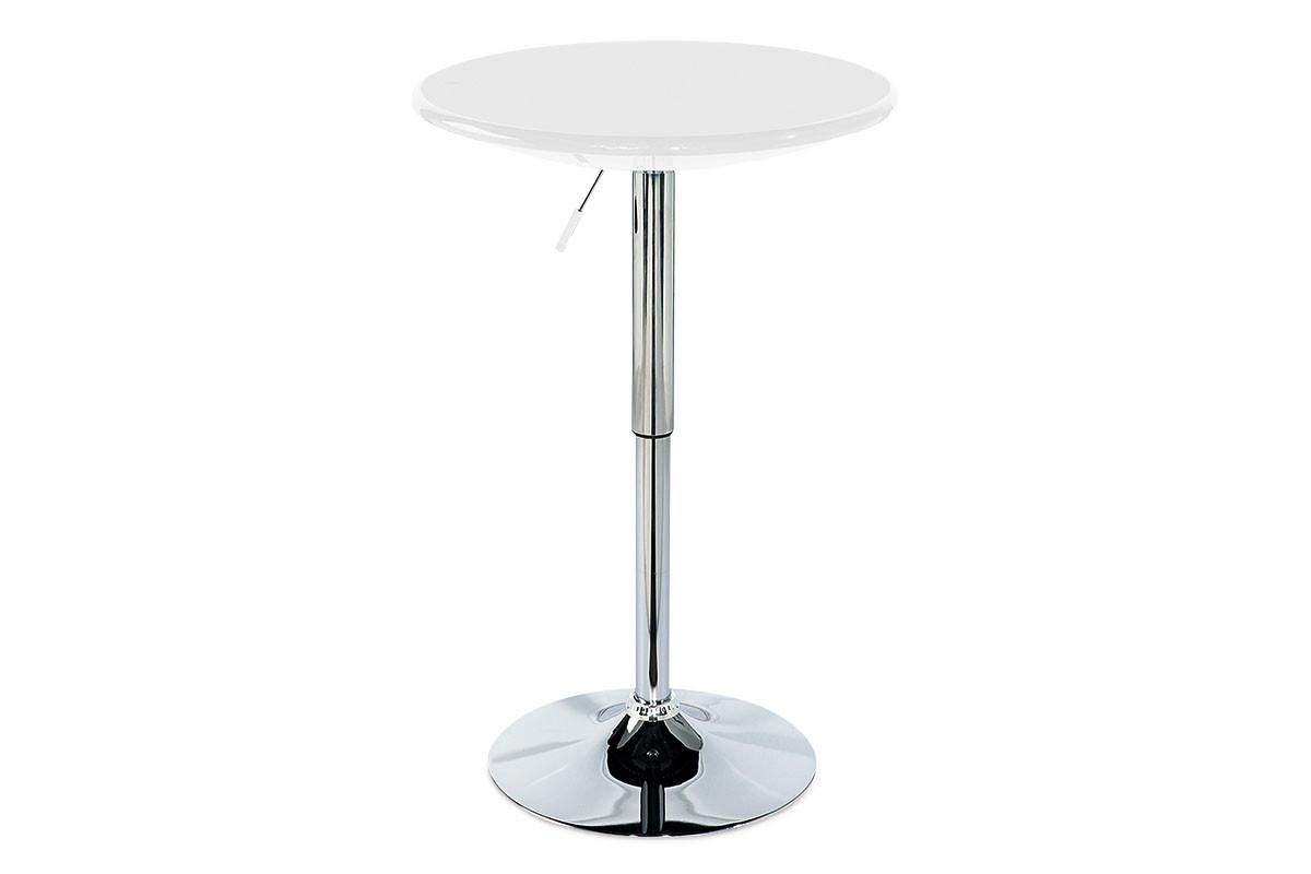 Autronic Barový stůl AUB-4010 WT - bílá / chrom