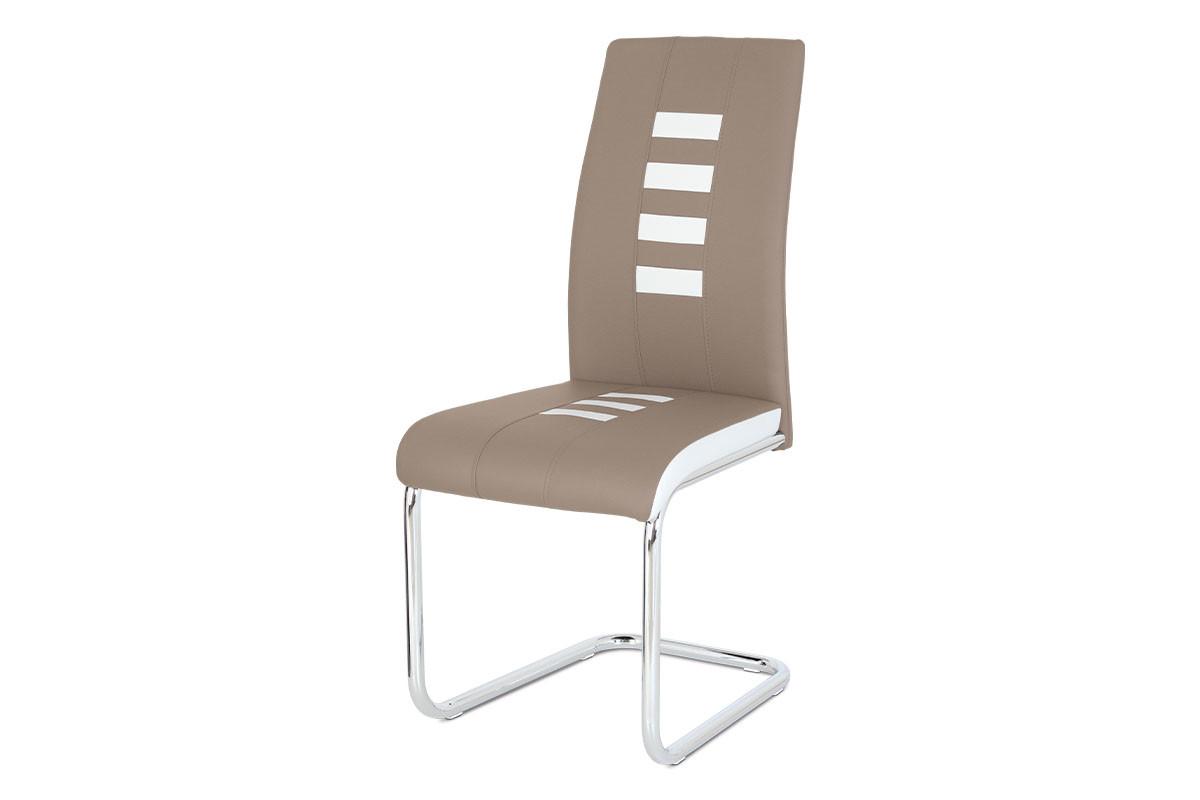 Autronic Jídelní židle DCL-961 CAP - ekokůže cappucino / bílá, chrom