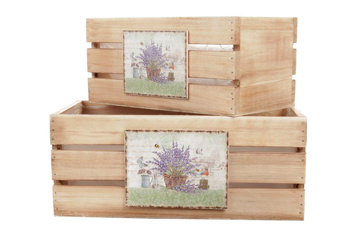 Autronic Dřevěné bedýnky na květiny s dekorem levandulí, sada 3ks OK6329-LE