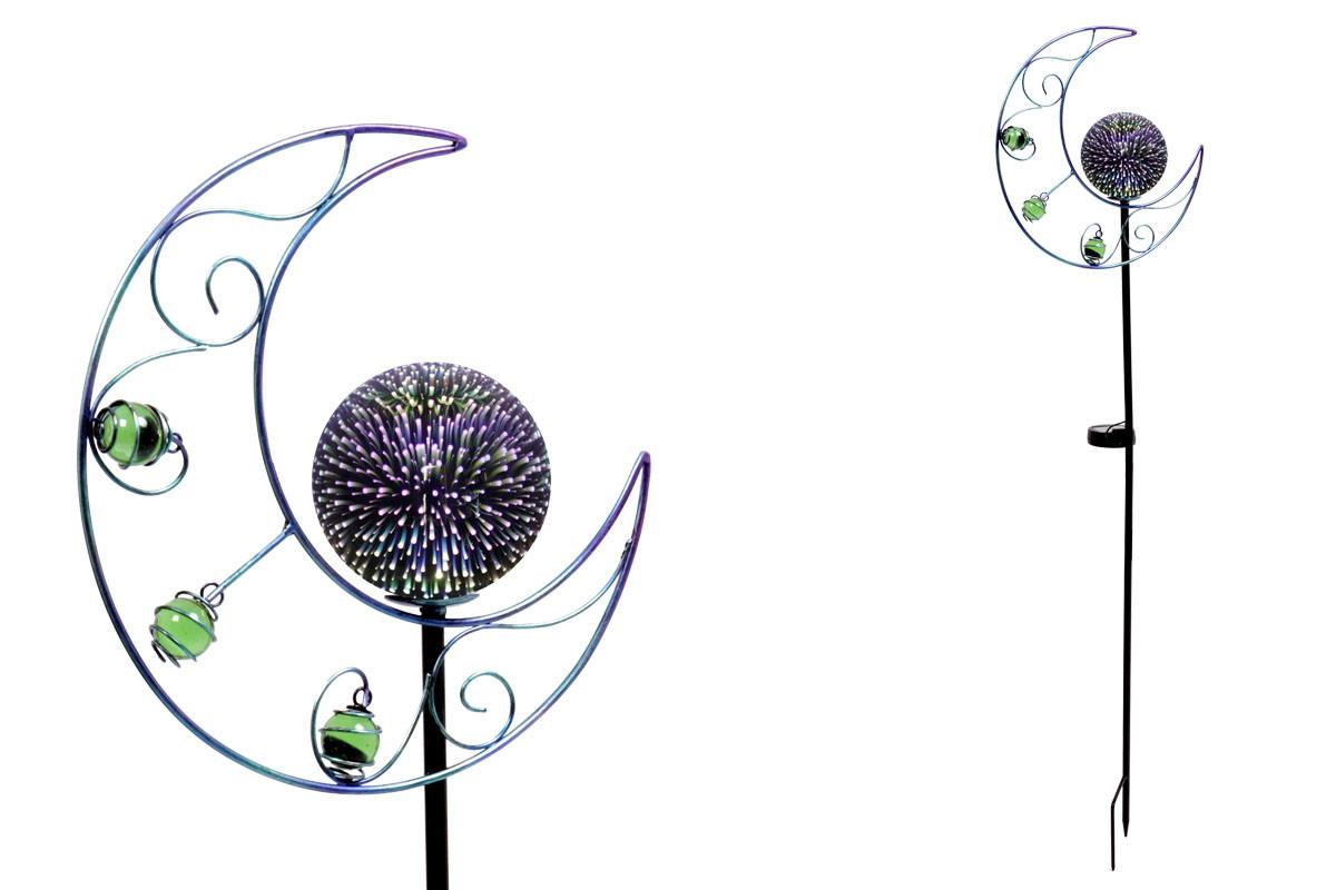 Autronic Měsíc s LED světlem, kovová zahradní dekorace (baterie na solární dobíjení) ZS4410