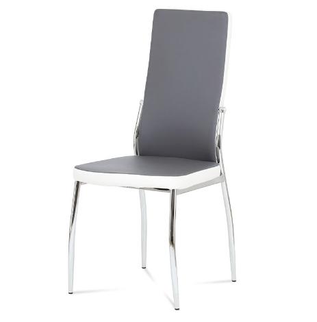 Autronic Jídelní židle AC-1693 LAN - koženka lanýž + bílá